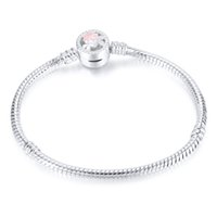 1pcs Flower Silver Plated Bracelets Snake Chain Fit Charm Beads for pandora Bangle Bracelet Women Girl Gifts BR010