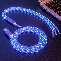 USB Telefon Kabloları Aydınlatma Mikro Tip C 3 1 LED Glow Akan Şarj 8 iPhone 12Promax Android için Şarj