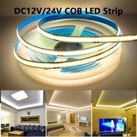Strips Ra90 Soft Soft COB 12V 24V LED LIGHT IP20 IP67 Imperméable 320/384/528/608 LEDS / M Diode de la bande 12 24 V volt LEDStrip