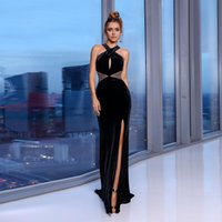 Party Dresses Modern Slim Slit Velvet Evening Dress For Woman Halter Floor Length Sexy Gown With Sequin A Line Vestidos De Noche 2021