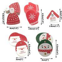 50pcs 크리스마스 태그 종이 빨간색 녹색 선물 태그 결혼식 파티 종이 덩어리 태그 가격 레이블 교수형 태그 카드 DIY 종이 선물 포장 fwe8326