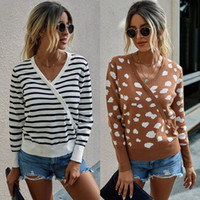 Autumn Striped V-Neck Ropa Mujer Sweater Women Sueter Woman Sweaters Pull Femme Jumpers Ladies Womens Clothing Pullover Tricot