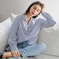 Autumn Tops Lace Patchwork Striped Print Blouse Casual V Neck Long Sleeve Loose Back Bow Tie Korean Blouses Shirt Blusas Women's & Shirts