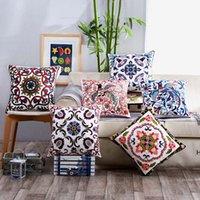 Вышитая подушка подушки подушки 45 * 45см декоративный чехол оранжевый серия лошади цветы печатные чехлы для домашнего стула диван украшения HWA5593