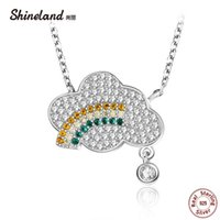 Shineland 925 Sterling Silver Full Zircon Stones Clouds Rainbow Raindrop Necklaces & Pendants For Women Lady Friend Gifts Chains