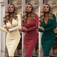 Casual Dresses Elegant Fashion Women Sexy Deep V Neck Formal Bodycon Business Office Dress Evening Party Long Sleeve Pencil