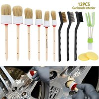 Care Products 5 9 11 12Pcs Car Detailing Brush Kit Natural Boar Hair Auto Tire Wheel Hub Rim Interior Air Vents Grille Cleaning Tools
