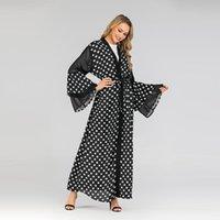 Donsignet Muslim Dress Fashion Dot Print Cardigan Robe Long Dresses Belt Middle East Eid Duabi Abaya Turkey Ethnic Clothing