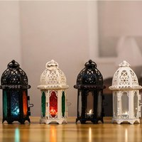 Candle Holders Classic Moroccan Windproof Votive Iron Glass Hanging Candlestick Wedding Decoration Lantern Home Decor