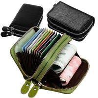Storage Bags Unisex Leather ID Card holder double zipper credit cards wallet cowhide Clutch Purse Coin ZWL351