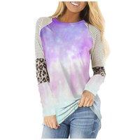 Women's T-Shirt TShirts Women Tie-dye Leopard Print Woman Casual Loose Long Sleeve O-neck Tops For