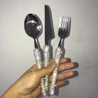 Dinnerware Set Sparkling Diamond Paletterie Set 3 pezzi Coltello Forcella e cucchiaio 304 Acciaio inossidabile Acciaio inox Eco-friendly Flatware da viaggio