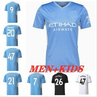 Manchester Fútbol Jersey 21 22 Hombre grealish G. Jesus City Sterling Ferran de Bruyne Foden Fans Versión 2021 2022 Camisetas de fútbol Uniforme Men + Kit Kit