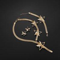 New African Dubai Gold Gold Nigerian Crystal Blower Collana Collana Orecchini Anello Braccialetto Italian Wedding Accessories Set di gioielli 383 Q2