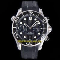 Вечность STOPWatch Часы OMF Последние 9900 хронографа Автоматический черный циферблат керамический бешель 44 мм мужские часы дайвера 300 м 210.32.44.51.01.001 Стальный корпус резиновый ремешок