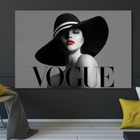 Paintings Fashion Sexy Red Lip Women Black Hat Modern Vogue White Canvas Painting Art Poster Wall Picture For Living Room Home Decor