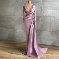 2021 Purple Satin Evening Dresses For Women Applique V Neck Mermaid Prom Party Gowns Long Wrap Formal Robe De Soirée