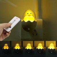 Zamanlama LED Gece Lambası 110 V 220 V Sarı Ördek AB Tak Soket Duvar Lambası Uzaktan Çocuk Karikatür Yaratıcı Hediye Için