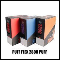 원래 퍼프 플렉스 전자 담배 스타터 키트 2800 퍼프 일회용 vape 펜 1500mAh 배터리 10ml 사전 채워진 13colors 원래 증기 도매 에어 바 최대