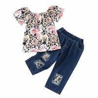 Clothing Sets Toddler Girls 2Pcs Summer Outfits, Off Shoulder Leopard Print Tops + Patchwork Denim Pants Set