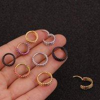 Hoop & Huggie Body Piercing Three Rows Twist Nose Ear Clip Vintage Simple Stainless Steel Piercings Jewelry Cartilage 8 10mm