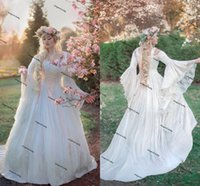 Ivory Gold Gwendolyn Princess wedding dresses Fairy Medieval Velvet and Lace gothic lace-up corset boho bridal gown plus size