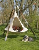UFO 모양 teepee 나무 교수형 누에 고치 스윙 의자 아이들을위한 성인 실내 야외 해먹 텐트 하마카 안뜰 가구