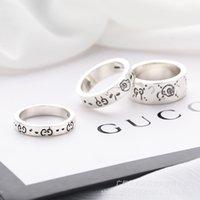 925 anello in argento elfo skull anello moda doppia g lettere per uomini e donne