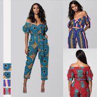 Afrika Giysileri Yaz Sonbahar Bayanlar Robe Afrikaine Tulum Artı Pantolon Dashiki Moda Omuz Offs Off Tulumlar için Bayan Kadın Tulum