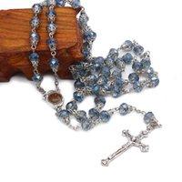 펜던트 목걸이 8mm 블루 크리스탈 비즈 체인 가톨릭 묵주 목걸이 거룩한 땅 메달 십자가 크로스 펜던트기도 종교 jewelr