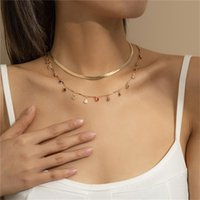 Chains 2Pcs Set Vintage Simple Flat Snake Chain Necklace Collier Punk Fashion Sexy Boho Choker For Women Jewelry