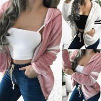 Plus Size Women Winter Warm Hooded Fleece Jacket Ladies Coats Cardigans Outwear Fashion Female DFF3038