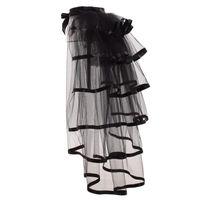 التنانير حزب توتو الذيل المتدرج تول تنورة هزلي steampunk أسود شبكة كشكش الطبقات detachable صخب فوق تنورة