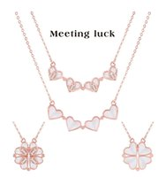 Clover Necklaces Women's One With Double-sided Love Heart Clavicle Neck Chain Necklace Pendant 44+5cm