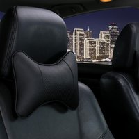 Seat Cushions Car Universal Headrest Double Side Pu Leather Neck Memory Pillow Head Support Protector Cushion Auto Travel Accessories