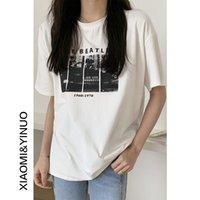OUFAN 7936 Kısa Kollu T-shirt Kadın 2021 Yeni Gevşek Koreli Yarı Baskılı Üst