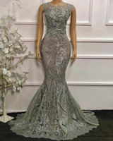 2021 Silver Plus Size Mermaid Evening Dress For Women Sequin Lace Dubai Prom Dresses Caftan Boda robe soirée de mariage