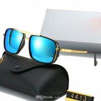 Rayons de lunettes de soleil carrée classiques de luxe branchement marquée design UV400 lunettes métalliques métal wrap doré cadre lunettes lunettes hommes femmes miroir 4413 lentilles de verre polaroid