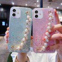 Наручный ремешок жемчужный мягкий TPU чехлы для iPhone 12 11 Pro X XR XS MAX MINI 6 6S 7 8 плюс блестящий фольга Bling Confetti Confetti Confetti Cover