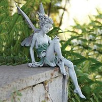 Garden Decorations Tudor And Turek Resin Sitting Fairy Statue Ornament Porch Angel Sculpture Yard Craft Landscaping For Decors 15cm