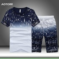 Sommer Männer Sportswear Trainingsanzug Set Print Herren Casual Sport Anzug Kleidung Strand Short Sets T Shirts + Shorts Herren Tracksuits