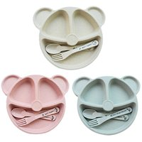 Cartoon Kid Dinnerware Wheat Straw Baby Feeding Plate Bowl Spoon Fork Set Cute Children Tableware
