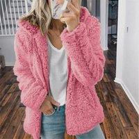 Women's Wool & Blends Fashion Women Casual Hooded Plush Warm Jackets Zipper Cardigan Tops Coat Abrigo Mujer Jacket Solid