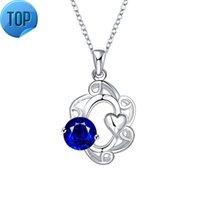 Mode Silber Schmuck Beliebt in Japan und Südkorea Aushöhlen Blume Schnitzen Herzförmige blaue Zirkon Frauen Halskette N038-A Sphn038