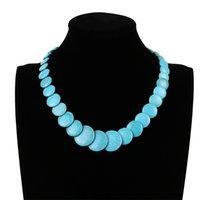 Jiasha Damen Schmuck Nationaler Stil Türkise Kurzer Perlen-Halskette 835 Q2