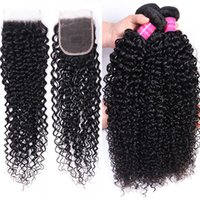 Wholesale 10A Brazilian Curly Wave 4*4 Lace Closure Peruvian Hair 3 Bundles With Closure Malaysian Curly Wave Human Hair Extensions