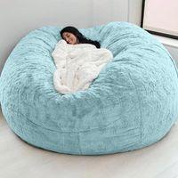 Chaise couvre-fauteuils d72x35in giant fourrure sac de haricots couverture gros rond doux moelleux fauvy fantaisie paresseux canapé-lit salon salon meubles goutte