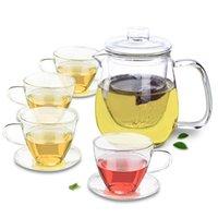 Isıya Dayanıklı Cam Çay Seti - 750ml Çaydanlık + 4x Setleri 160ml Çay Bardağı Dailer