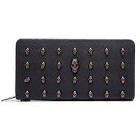 Avrupa tarzı deri cüzdan kadınlar 2021 siyah kadın çanta kafatası desen erkek fermuar moda erkekler için cüzdanlar için