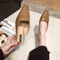 Pantofole da donna indossare 2020 Nuovo selvaggio Baotou Half Drag Fashion Womens Shoes Moda Lazy Muller High Heeld Heel Womens Boots Stivaletti da donna Pantofole da donna da un Y7K4 #
